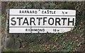 NZ0415 : Old Village Signpost by the B6277, Church Bank, Startforth by Milestone Society