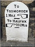 SD9524 : Old Milestone by the A646, Halifax Road, Todmorden by C Minto