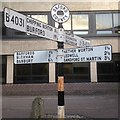 SP5106 : Old Direction Sign - Signpost by New Road, Oxford Parish by Milestone Society