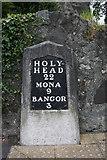 SH5571 : Old Milestone by the A4080, Mona Road, Menai Bridge Parish by Milestone Society