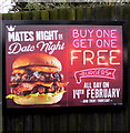 ST3091 : Buy one get one free burgers advert on an Almond Drive fence, Malpas, Newport by Jaggery
