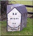 SN1509 : Old Milestone by the A477, Pen-y-bont, Amroth Parish by Milestone Society
