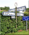 SO5793 : Old Direction Sign - Signpost by the B4378, Brockton, Stanton Long Parish by Milestone Society