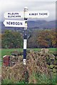 NY6428 : Old Direction Sign - Signpost by Maiden Way, Newbiggin Parish by Milestone Society