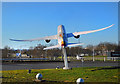 TQ0874 : Aircraft on the Roundabout by Des Blenkinsopp