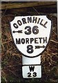 NZ1496 : Old Milepost by the A697, north of Bellamour, Longhorsley parish by IA Davison