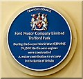 SJ7796 : Blue plaque: Ford Motor Company by Gerald England