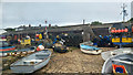 SZ0378 : Slipway, fishing equipment and sheds at Peveril Point, Swanage by Phil Champion