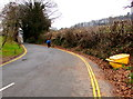 SO2218 : Yellow grit bin and double yellow lines, Great Oak Road, Crickhowell by Jaggery