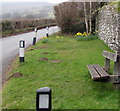 SO2219 : Wooden bench and daffodils, Great Oak Road, Crickhowell by Jaggery