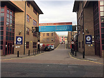 TQ3480 : Entrance to Princes Court Business centre, Wapping by Robin Stott