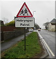 SM9429 : Warning sign Hebryngwr/Patrol, Letterston by Jaggery