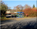 SO0504 : Blue bus shelter near Lewis Square, Upper Abercanaid by Jaggery