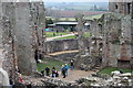 SO4108 : View towards visitor centre, Raglan Castle by M J Roscoe