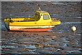 ST3161 : Yellow boat on tidal mud by David Martin