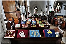 TL8866 : Great Barton: Holy Innocents Church: A striking display of kneelers 1 by Michael Garlick