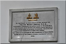 TL8866 : Great Barton: Holy Innocents Church: The Frank Riley-Smith memorial plaque by Michael Garlick