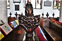 TL8866 : Great Barton: Holy Innocents Church: Finely carved poppyhead 3 by Michael Garlick