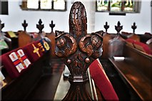 TL8866 : Great Barton: Holy Innocents Church: Finely carved poppyhead 5 by Michael Garlick
