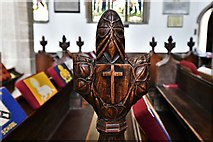 TL8866 : Great Barton: Holy Innocents Church: Finely carved poppyhead 9 by Michael Garlick