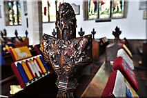 TL8866 : Great Barton: Holy Innocents Church: Finely carved poppyhead 10 by Michael Garlick