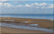 NZ6025 : Redcar Sands and the Teesside Wind Farm by Mat Fascione