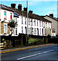 ST2189 : Irish flag and Welsh flag in a Commercial Road window, Machen by Jaggery