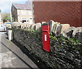 ST2089 : King George V postbox in a stone wall, Machen by Jaggery