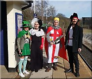 SK3281 : Comic Relief day participants await train for New Mills by Chris Morgan