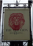 SJ4623 : Sign for the Red Lion, Myddle  by JThomas