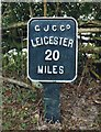 SP6787 : Old Milemarker by the Grand Union Canal by Bridge 55 by Milestone Society