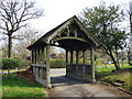 SU7730 : Lychgate Building of Greatham Church in Hampshire by John P Reeves