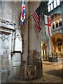 SO8318 : US flag in Gloucester Cathedral by Philip Halling