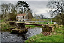 H5371 : Crumbling supports to footbridge, Camowen River by Kenneth  Allen