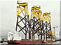 "J3676 : ""Boabarge 35"" and wind turbine parts, Belfast harbour (March 2019) by Albert Bridge"