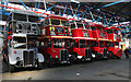 TQ4585 : Line-up of RT buses inside Barking bus garage by David Kemp