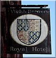 ST1189 : Royal Hotel name sign, Abertridwr by Jaggery