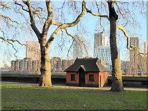 TQ2977 : Gardener's Hut Pimlico Gardens by PAUL FARMER