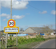 TM4599 : St. Olaves Village Name sign by Adrian Cable