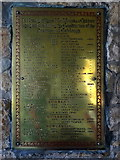 NT7702 : Catcleugh Reservoir workers' memorial plaque, Byrness Church by Andrew Curtis