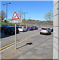 ST1599 : Warning sign - two way traffic 30 yards ahead, High Street, Bargoed by Jaggery