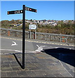 ST1599 : Bilingual signpost on a Bargoed corner by Jaggery