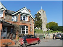SX8189 : The Royal Oak inn and village church, Dunsford by David Smith