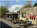 SE0053 : Embsay station - platform with cafe by Stephen Craven