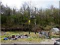 SO1210 : Line spur pole near Plymouth Arms Cottages, Tafarnaubach by Jaggery