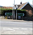 SO1422 : A40 direction and distance signs, Bwlch, Powys by Jaggery