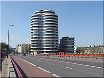 TQ3078 : Vauxhall Bridge and Riverbank building by Robin Webster