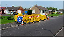 ST3049 : Yellow temporary barriers on the Westfield Drive pavement, Burnham-on-Sea by Jaggery