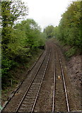 ST1599 : Railway from Gilfach Fargoed towards Pengam station by Jaggery