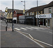 ST1599 : Zebra crossing, Cardiff Road, Bargoed by Jaggery